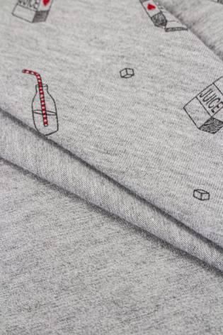 Dzianina jersey szary melanż z czarnym nadrukiem - juice - 180cm 220g/m2 thumbnail
