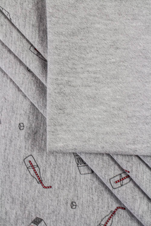 Dzianina jersey szary melanż z czarnym nadrukiem - juice - 180cm 220g/m2