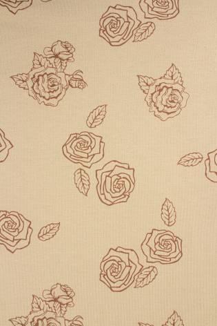 Dzianina dresowa pętelka beżowa w róże - 185cm 230g/m2 thumbnail