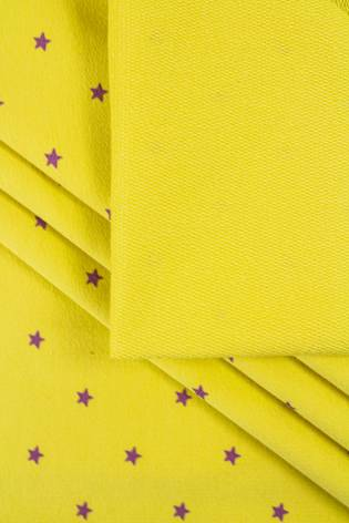 Dzianina dresowa pętelka żółta w gwiazdki - 185cm 230g/m2 thumbnail