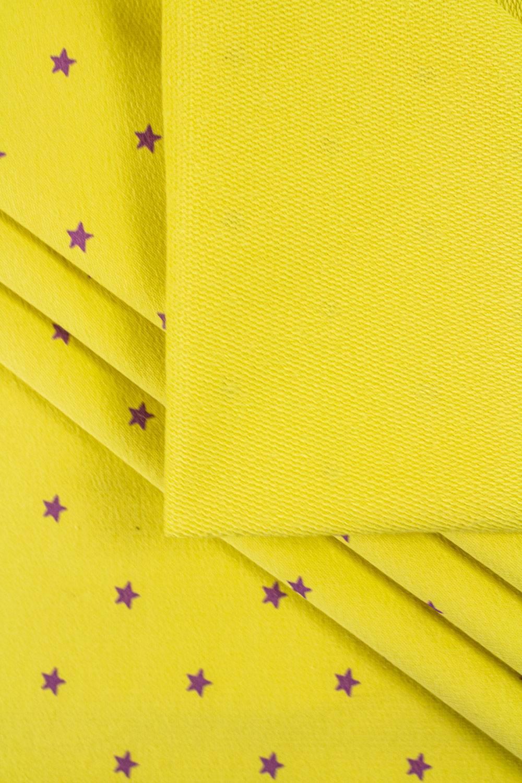 Dzianina dresowa pętelka żółta w gwiazdki - 185cm 230g/m2