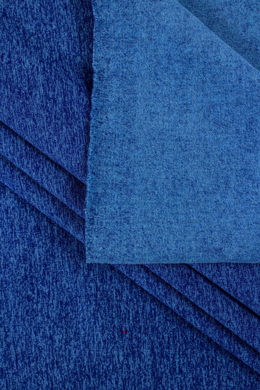 Dzianina dresowa drapana niebieski melanż - 170cm 300g/m2