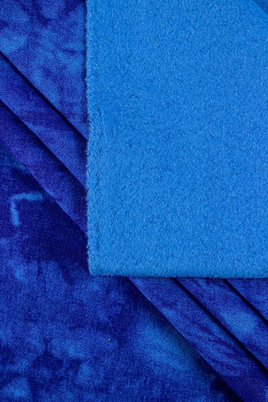 Dzianina dresowa drapana niebieska w chabrowy tie dye - 170cm 290g/m2