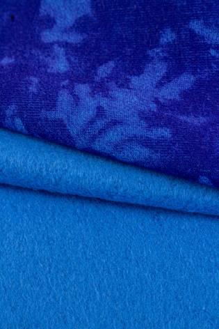 Dzianina dresowa drapana niebieska w chabrowy tie dye - 170cm 290g/m2 thumbnail