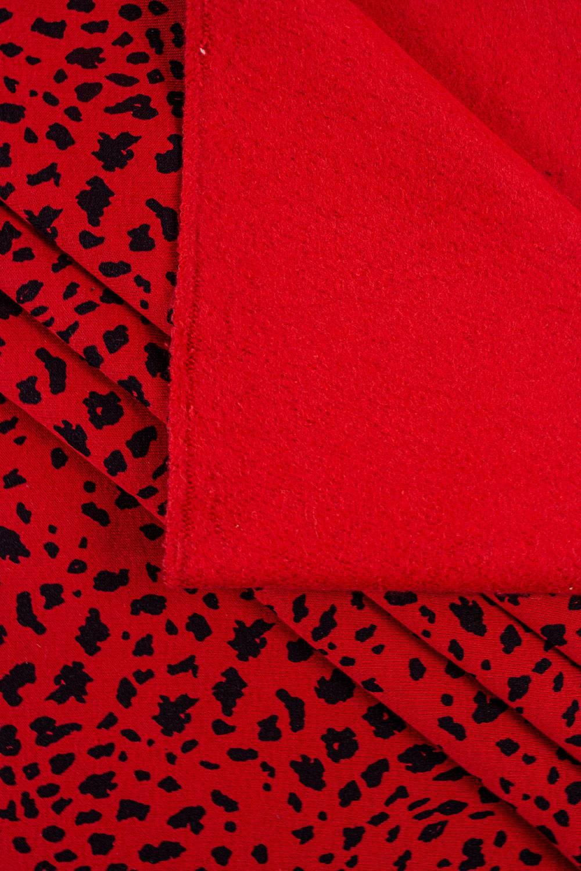Dzianina dresowa drapana czerwony w cętki - 170cm 280g/m2