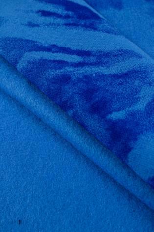 Dzianina dresowa drapana niebieska w chabrowe kwiaty tie dye - 170cm 280g/m2 thumbnail