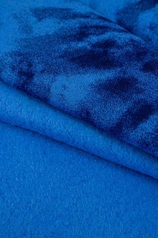 Dzianina dresowa drapana niebieska w granatowe kwiaty tie dye - 170cm 290g/m2 thumbnail