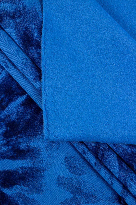 Dzianina dresowa drapana niebieska w granatowe kwiaty tie dye - 170cm 290g/m2