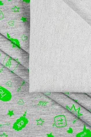"""Dzianina dresowa pętelka szary melanż z nadrukiem """"dymki rozmów"""" - 180cm 230g/m2 thumbnail"""