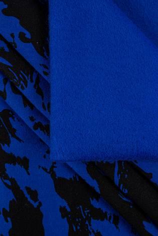 Dzianina dresowa drapana niebieska w czarne maziaje - 170cm 290g/m2 thumbnail