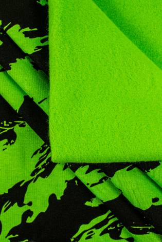 Dzianina dresowa drapana zielona w czarne maziaje - 170cm 290g/m2 thumbnail