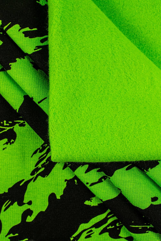 Dzianina dresowa drapana zielona w czarne maziaje - 170cm 290g/m2