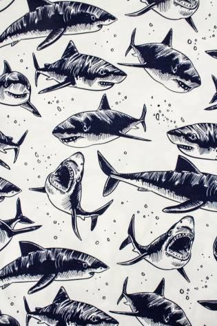Tkanina śmietankowa twill z nadrukiem rekinów - 145cm 210g/m2 thumbnail