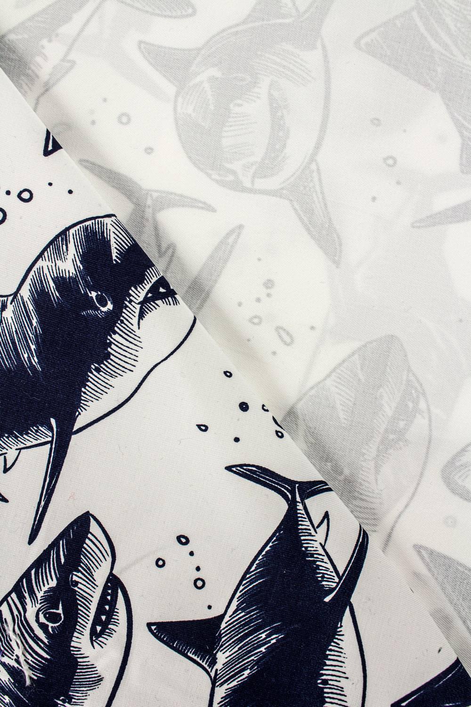 Tkanina śmietankowa twill z nadrukiem rekinów - 145cm 210g/m2