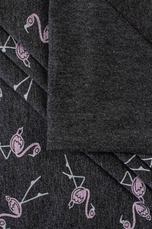 Dzianina jersey grafitowy z nadrukiem - flamingi - 180cm 200g/m2