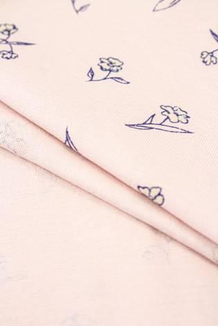 Dzianina jersey różowy w drobne kwiatki - 170cm 140g/m2 thumbnail