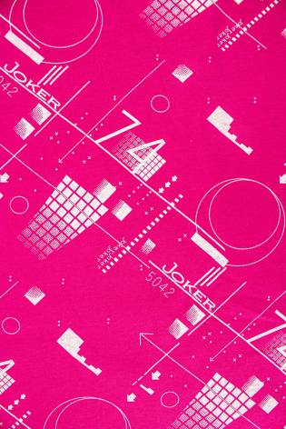 "Dzianina jersey różowy z nadrukiem ""joker"" - 165cm 150g/m2 thumbnail"