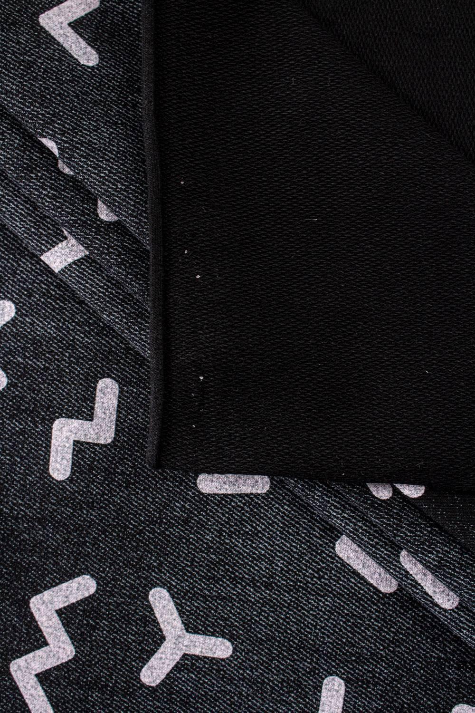 Dzianina dresowa pętelka czarny melanż z nadrukiem literek - 185cm 230g/m2
