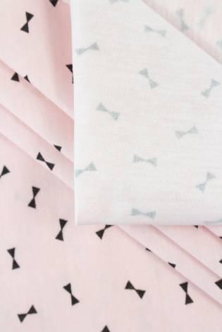 """Dzianina jersey bawełniany różowy nadrukiem """"muchy"""" - 165cm 150g/m2 thumbnail"""