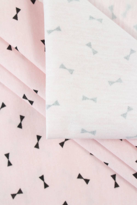 """Dzianina jersey bawełniany różowy nadrukiem """"muchy"""" - 165cm 150g/m2"""