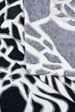 Dzianina jersey wiskozowy biało-czarny wzór AFRYKAŃSKI - 160cm 225g/m2 thumbnail