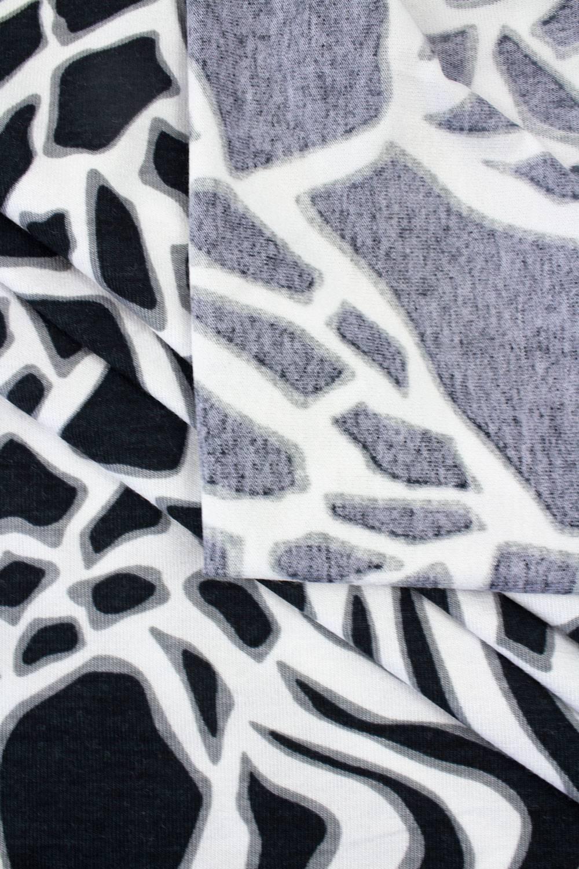 Dzianina jersey wiskozowy biało-czarny wzór AFRYKAŃSKI - 160cm 225g/m2