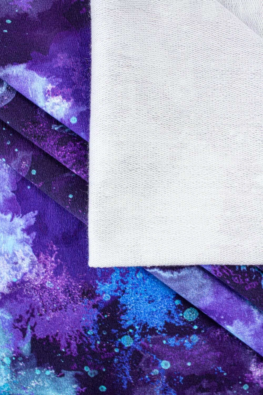 Dzianina dresowa pętelka nadrukiem obłoczki/abstrakcja - 180cm 240g/m2