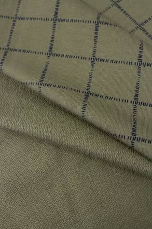 Dzianina dresowa pętelka khaki w kratę - 185cm 230g/m2 thumbnail