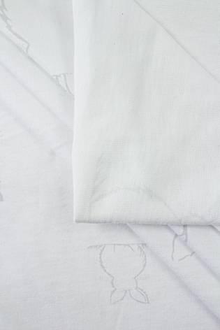 Dzianina jersey biały w szare zajączki - 180cm 170g/m2 thumbnail