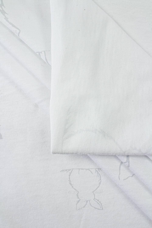 Dzianina jersey biały w szare zajączki - 180cm 170g/m2