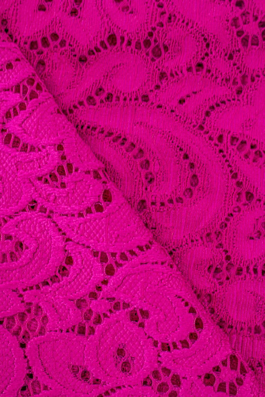Tkanina koronka ornament - różowa - 145cm 210g/m2