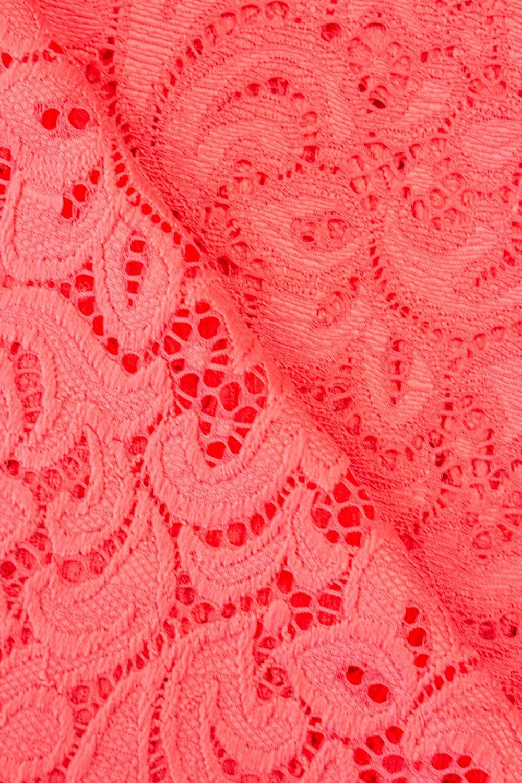 Tkanina koronka ornament - koralowa - 145cm 210g/m2