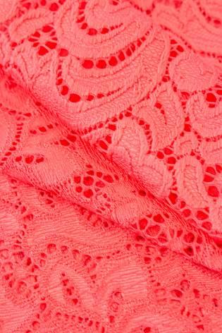 Tkanina koronka ornament - koralowa - 145cm 210g/m2 thumbnail