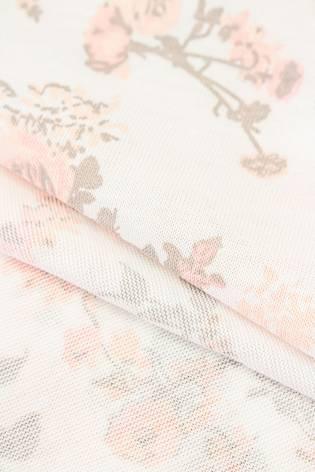 Dzianina jersey wiskozowy biały w pudrowe róże - 175cm 190g/m2 thumbnail