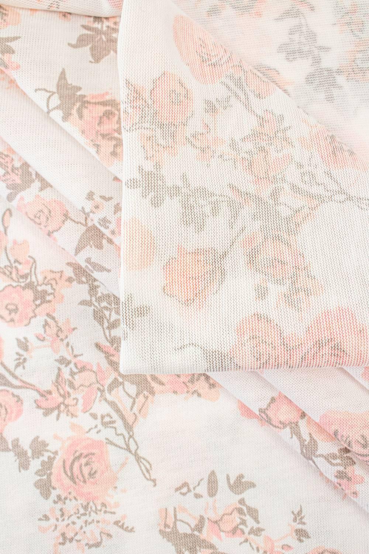 Dzianina jersey wiskozowy biały w pudrowe róże - 175cm 190g/m2