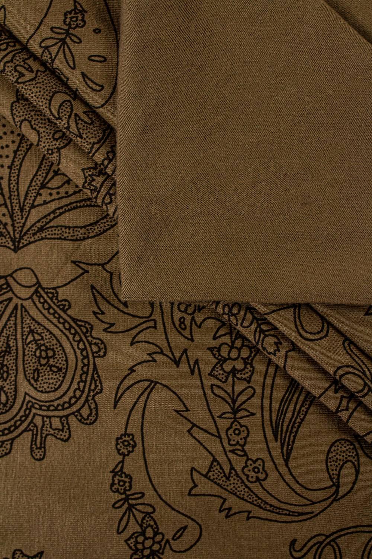 Dzianina jersey wiskozowy czekoladowy z nadrukiem paisley - 160cm 260g/m2