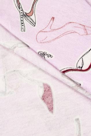"""Dzianina jersey wiskozowy różowy z nadrukiem """"szpilki"""" - 150cm 200g/m2 thumbnail"""