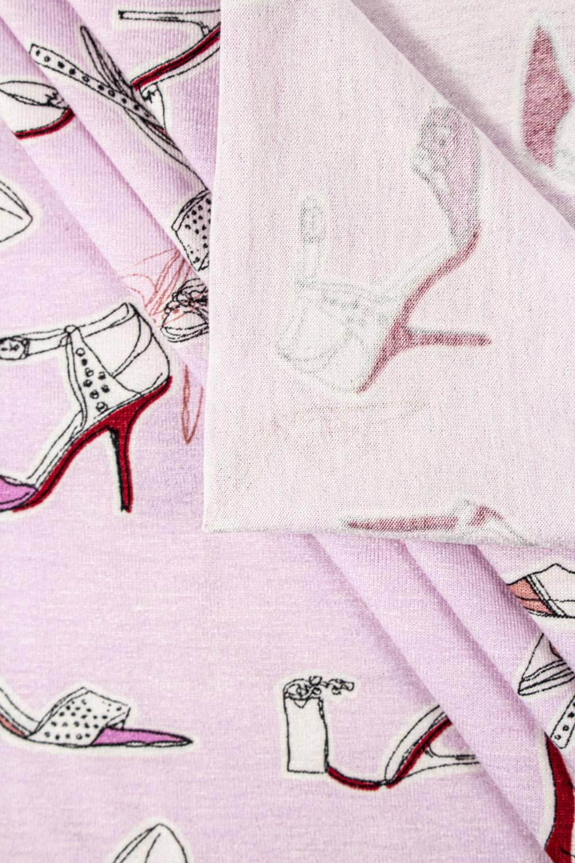 """Dzianina jersey wiskozowy różowy z nadrukiem """"szpilki"""" - 150cm 200g/m2"""