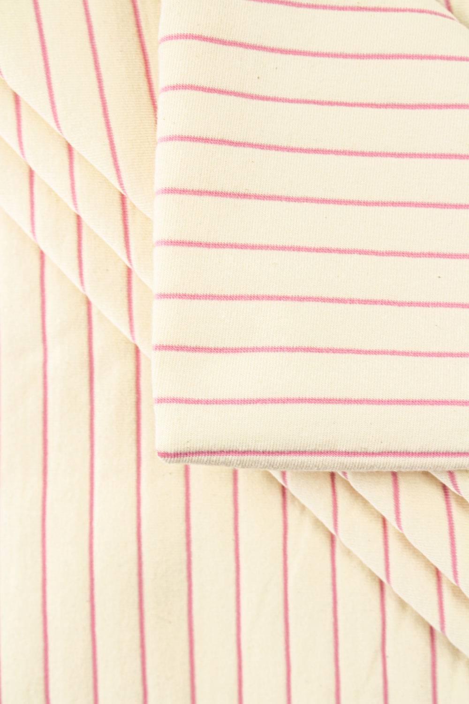 Dzianina jersey surówka naturalna w różowe paski 100cm/200cm 200g/m2