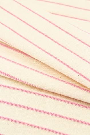 Dzianina jersey surówka naturalna w różowe paski 100cm/200cm 200g/m2 thumbnail