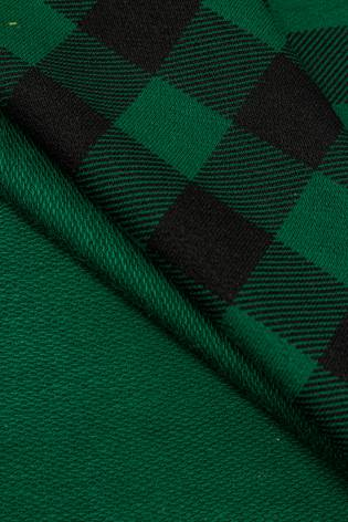 Dzianina dresowa pętelka zielona w kratę - 180cm 240g/m2 thumbnail