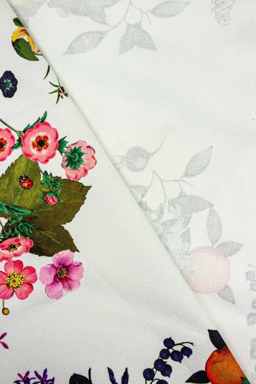Tkanina drelich biały w kolorowe kwiaty - 145cm 260g/m2