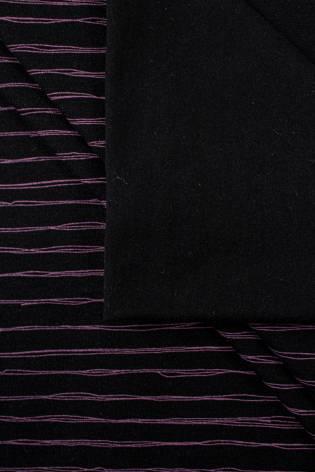 Dzianina jersey bawełniany czarny w paski - 170cm 170g/m2 thumbnail