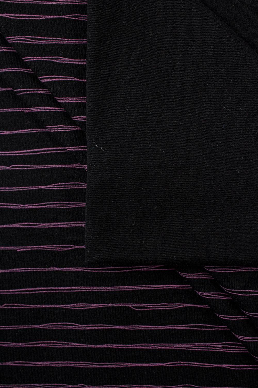 Dzianina jersey bawełniany czarny w paski - 170cm 170g/m2