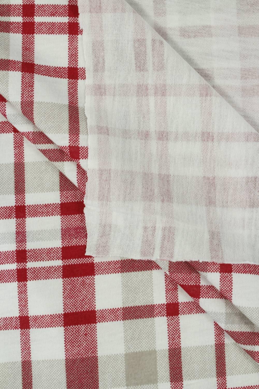 Dzianina jersey bawełna w kratkę czerwony - 160 cm 150 g/m2