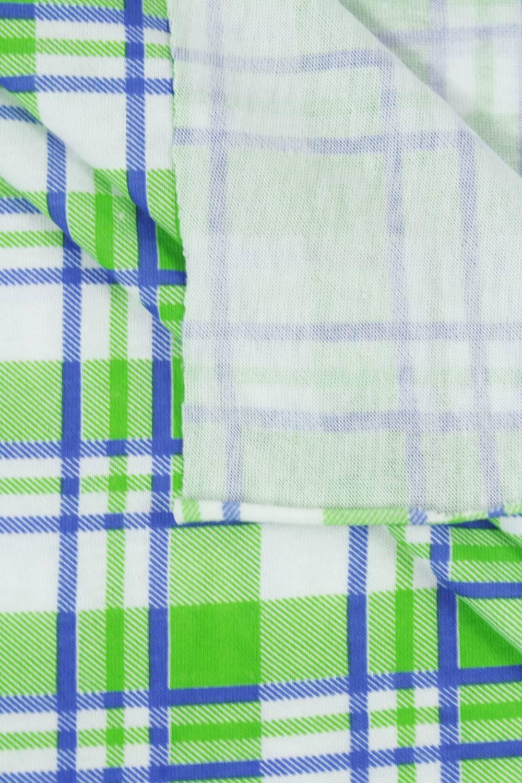 Dzianina jersey bawełna w kratkę zielony - 160 cm 150 g/m2