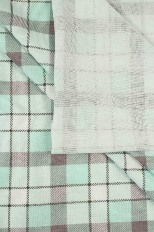 Dzianina jersey bawełna w kratkę miętowy - 160 cm 150 g/m2