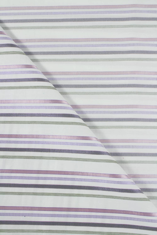 Tkanina bawełniana biała w paski - 150 cm 120 g/m2