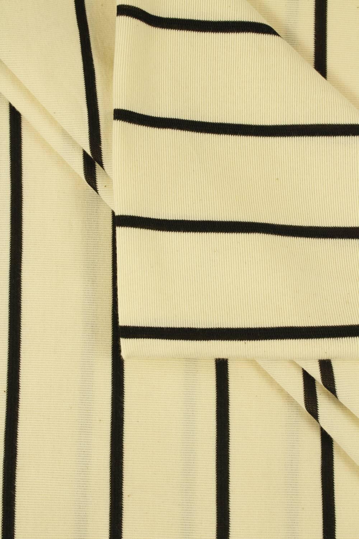Dzianina jersey surówka naturalna w czarne paski 100 cm/200 cm 200 g/m2