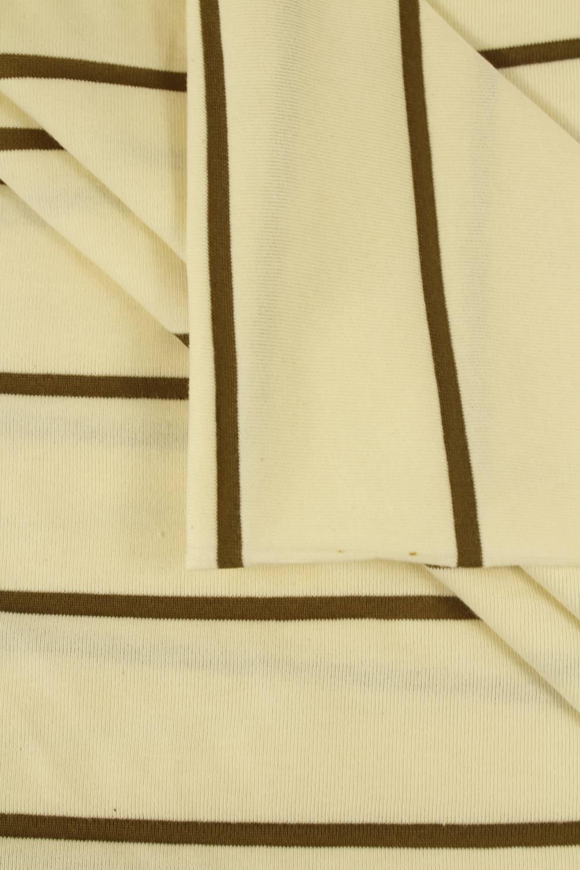 Dzianina jersey surówka naturalna w brązowe paski 100 cm/200 cm 200 g/m2